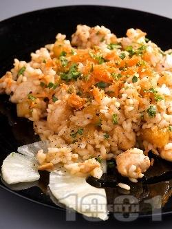 Наси кебули - пилешко бонфиле (гърди) с ориз и ананас на тиган - снимка на рецептата